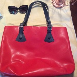PULICATI RED LEATHER TOTE